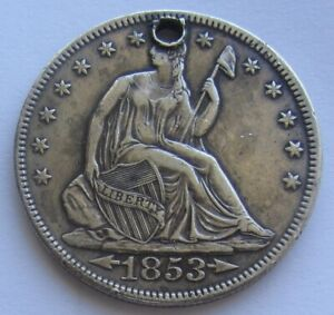 1853 ARROWS AND RAYS SEATED LIBERTY HALF DOLLAR XF / AU  DETAIL HOLED