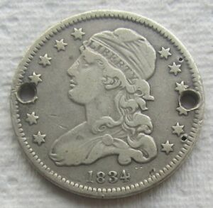 1834 25C CAPPED BUST QUARTER VF DETAIL HOLED