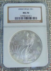 2004 AMERICAN SILVER EAGLE $1 DOLLAR COIN. NGC MS70. SPOTS/TONING. 1790016 011