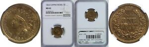 1864 C/N INDIAN HEAD CENT NGC MS 62