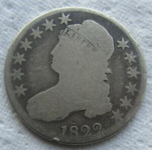 1822 CAPPED BUST HALF DOLLAR  DATE LIGHT CLEANING