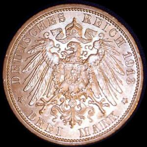 Click now to see the BUY IT NOW Price! GERMAN STATES 1913 A PRUSSIA 3 MARKS   OLD SILVER WORLD COIN HIGH GRADE