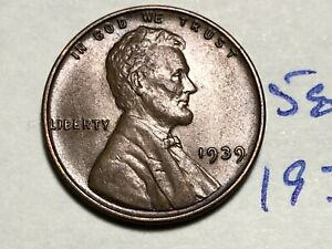 1939 1C LINCOLN CENT WHEAT PENNY 5892K