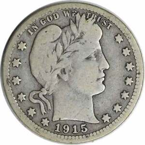 1915 S BARBER SILVER QUARTER CHOICE VG UNCERTIFIED