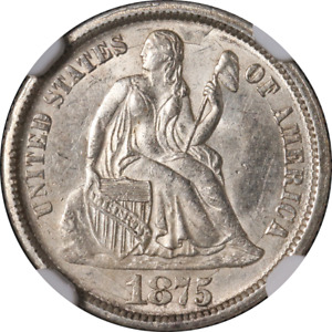 1875 CC SEATED LIBERTY DIME CC ABOVE BOW NGC MS61 BLAST WHITE STRONG STRIKE