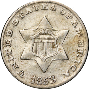 1853 THREE  3  CENT SILVER GREAT DEALS FROM THE EXECUTIVE COIN COMPANY