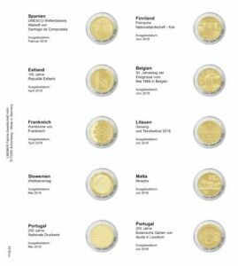 LINDNER 1118 24 LEAVES INDIVIDUAL FOR COINS COMMEMORATIVE OF 2 EUR