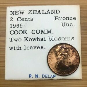 1969 2 CENTS NEW ZEALAND COOK COMM TWO KOWHAI BLOSSOMS WITH LEAVES