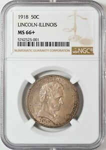 Click now to see the BUY IT NOW Price! 1918 LINCOLN ILLINOIS COMMEMORATIVE HALF DOLLAR NGC MS66  AMAZING LITE TONING