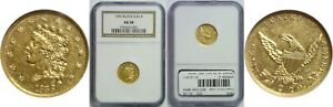 1836 $2.50 GOLD COIN NGC AU 58 BLOCK 8