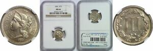 1865 NICKEL THREE CENT PIECE NGC MS 64