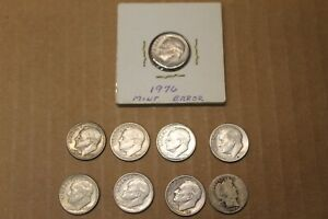 COLLECTION OF DIMES 8 SILVER AND ONE ERROR