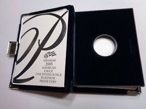 2005 AMERICAN EAGLE PLATINUM PROOF 1/10 OZ CASE ONLY PAPERS NO COIN NO BOX A