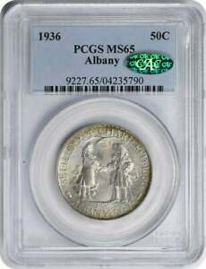 ALBANY COMMEMORATIVE SILVER HALF DOLLAR 1936 MS65 PCGS  CAC