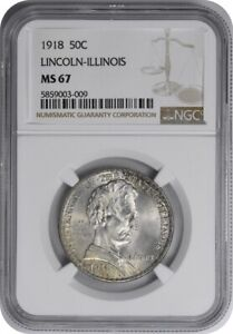 Click now to see the BUY IT NOW Price! LINCOLN ILLINOIS COMMEMORATIVE SILVER HALF DOLLAR 1918 MS67 NGC