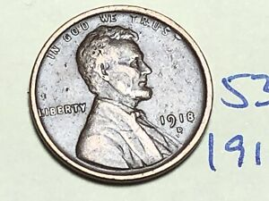 1918 D 1C BN LINCOLN CENT WHEAT PENNY 5367K