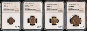 Click now to see the BUY IT NOW Price!  1843 1873  4 UK COPPERS > NGC MINT STATE CERTIFIED > CV $1300  > BUY IT NOW