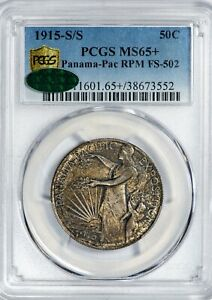 Click now to see the BUY IT NOW Price! 1915 50C PANAMA PAC PCGS MS65   CAC  RPM FS 502 SILVER COMMEM HALF DOLLAR GEM