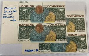 COIN THEME STAMPS   PLATE BLOCK SHIFT ERROR