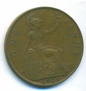 GREAT BRITAIN UK COIN 1 PENNY 1921 BRONZE KM 810 VF