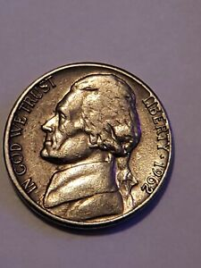 1962 JEFFERSON NICKEL WITH BROADSTRUCK IMPERFECTION