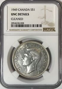 1949 CANADA $1 ONE DOLLAR KM 47 NGC CERTIFIED UNC DETAILS CLEANED NEWFOUNDLAND