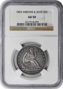 1853 LIBERTY SEATED HALF DOLLAR ARROWS AND RAYS AU50 NGC