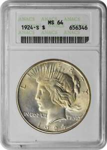 Click now to see the BUY IT NOW Price! 1924 S PEACE SILVER DOLLAR MS64 ANACS