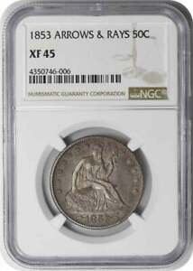 1853 LIBERTY SEATED HALF DOLLAR ARROWS AND RAYS EF45 NGC