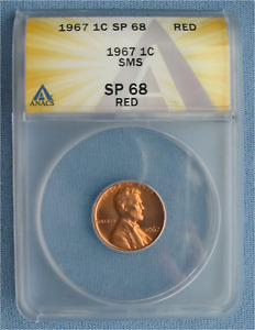 1967 SMS LINCOLN MEMORIAL CENT   ANACS GRADED SP 68 RED  1C PENNY RD