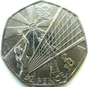 UK GREAT BRITAIN COINS 50 PENCE 2011 VOLLEYBALL : OLYMPIC GAMES LONDON 2012