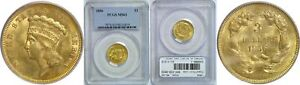 1856 $3 GOLD COIN PCGS MS 63