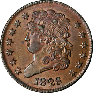 1828 HALF CENT '13 STARS' CHOICE BU C 3 R.1 GREAT EYE APPEAL STRONG STRIKE