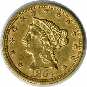 1854 $2.50 GOLD LIBERTY HEAD AU SLIDER UNCERTIFIED