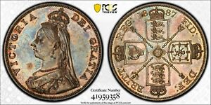 Click now to see the BUY IT NOW Price! 1887 GREAT BRITAIN DOUBLE FLORIN ARABIC 1 S 3923 PCGS MS62 SILVER COIN