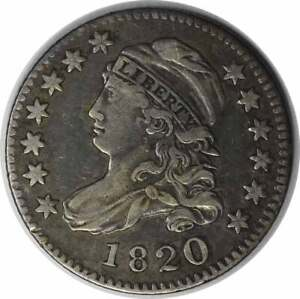1820 BUST SILVER DIME LARGE 0 CHOICE VF UNCERTIFIED