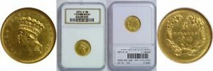 Click now to see the BUY IT NOW Price! 1854 O $3 GOLD COIN NGC MS 60