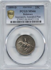 1999 D DEL. 25 IMPROPERLY ANNEALED PLAN PCGS MS 66