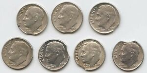 7 PCS. DIFF DATE  CLIPPED PLANCHETS SILVER DIMES