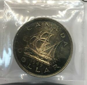 1949 CANADIAN SILVER $1 ICCS MS66