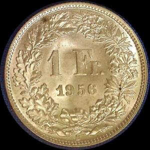 Click now to see the BUY IT NOW Price! SWITZERLAND 1956 1 FRANC OLD WORLD SILVER COIN CH.BU