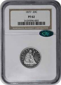Click now to see the BUY IT NOW Price! 1877 TWENTY CENT SILVER PIECE PR62 NGC  CAC