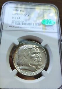 1936 50C LONG ISLAND COMMEMORATIVE SILVER HALF DOLLAR NGC MS64 CAC APPROVED