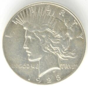 1928 S PEACE DOLLAR $1 US SILVER 90  COIN UNITED STATES S SCRATCHED OUT