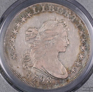 1798 DRAPED BUST LARGE EAGLE SILVER DOLLAR COIN PCGS XF40