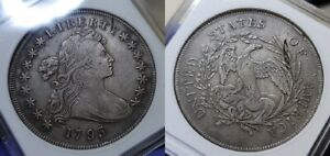 1795 DRAPED BUST DOLLAR $1 ANACS EF DETAILS CLEANED