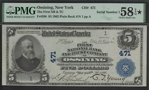 Click now to see the BUY IT NOW Price! FR. 598 1902 PB $5 CH471 NATL' BK NT OSSINING NEW YORK PMG 58 EPQ  SERIAL  1