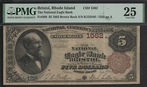 Click now to see the BUY IT NOW Price! FR. 469 1882 BB $5 CH1562 NATIONAL BANK NOTE BRISTOL RHODE ISLAND PMG 25 VF