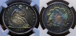 Click now to see the BUY IT NOW Price! 1887 PROOF SEATED HALF DOLLAR 50C NGC PF 67 STAR CAMEO BEAUTIFUL TONING