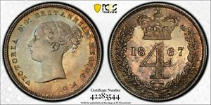 Click now to see the BUY IT NOW Price! 1867 GREAT BRITAIN 4 PENCE 4D MAUNDY PCGS PL66 KM 732 POP 4 NONE HIGHER